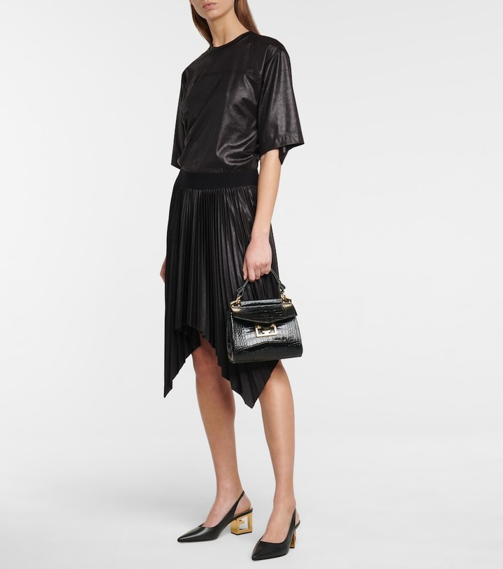 Thumbnail for your product : Givenchy Lacquered pleated T-shirt dress
