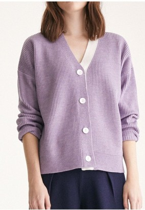 Paisie Knitted Cardigan with Side Neck Stripe in Lilac and White