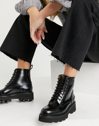 Grenson Bessie lace up ankle boots in black