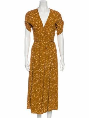 Faithfull The Brand Printed Midi Length Dress Yellow