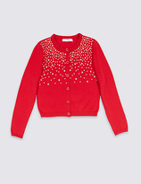 Marks and Spencer Pure Cotton Star Embellished Cardigan (3-14 Years)