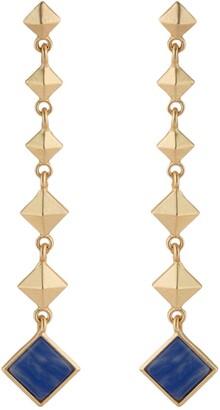 Jardin Graduated Pyramid Stud Semi Precious Sodalite Stone Drop Earrings
