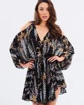Shona Joy Bonaire Open Shoulder Drawstring Mini Dress