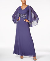 Alex Evenings V-Neck Embellished Capelet Gown