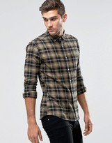 Asos Skinny Check Shirt In Camel With Long Sleeves