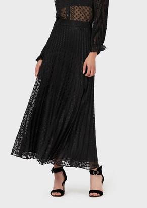 Emporio Armani Long, Pleated, Polka-Dot Devore Skirt