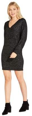 Adrianna Papell Womens Black Knit Dolman Sleeve Sheath Dress - Black