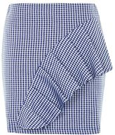 Topshop Gingham ruffle jersey mini skirt