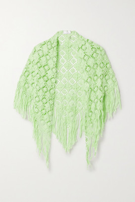 Miguelina Kiana Fringed Crocheted Cotton Shawl - Green