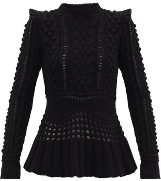 Gabriela Hearst Martha Peplum-hem Cable-knitted Cashmere Sweater - Black