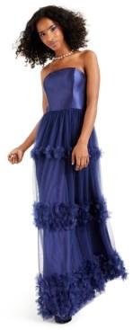 Speechless Juniors' Strapless Floral-Applique Gown