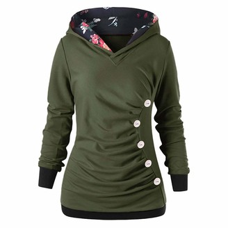 kolila 2020 Newest Hoodie for Women's Casual Long Sleeve Sweatshirts Cowl Neck with Button Printed Hooded Pullover Top (Green L)