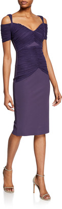 Chiara Boni Bertuccia Ruched Sweetheart Cold-Shoulder Dress