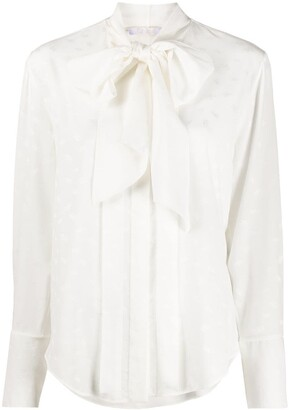 Chloé Pussybow Textured Silk Shirt
