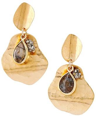 Chan Luu Hammered 18K Goldplated, Labradorite & Pyrite Drop Earrings