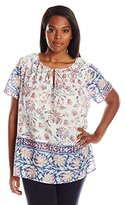 Lucky Brand Women's Plus-Size Printed Border Blouse