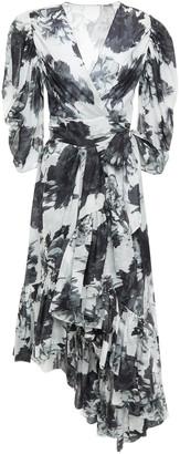 Alexandre Vauthier Asymmetric Gathered Printed Cotton-gauze Wrap Dress