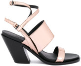 A.F.Vandevorst diagonal heel strappy sandals - women - Calf Leather/Leather/Patent Leather - 36.5