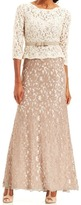 Adrianna Papell 81907760 Quarter Sleeve Lace Gown