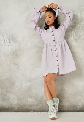 Missguided Lilac Poplin Tie Cuff Grandad Shirt Dress