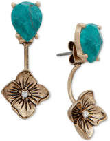 lonna & lilly Gold-Tone Flower and Stone Front and Back Earrings