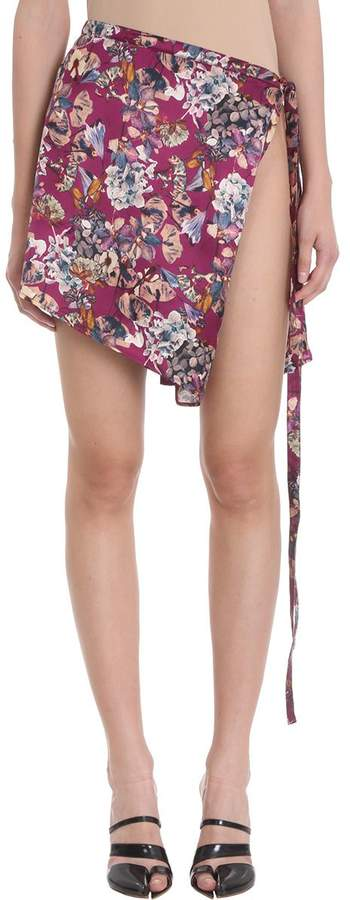 Y/Project Burgundy Silk Floral Print Wrap Skirt
