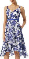 Adrianna Papell Burnout Jacquard Fit And Flare Dress, Royal Blue/Ivory