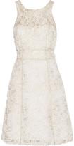 Marchesa Metallic Embellished Tulle And Gauze Mini Dress