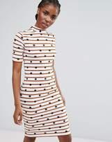 Pieces Turtlneck Stripe Bodycon Midi Dress