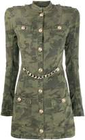 Balmain camouflage-print fitted dress