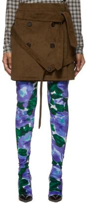 Rokh Brown Corduroy Wrap Miniskirt