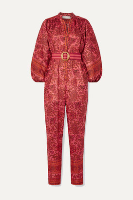 Zimmermann Edie Belted Paisley-print Cotton-voile Jumpsuit - Papaya