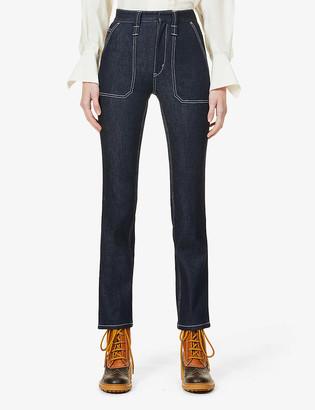 Chloé Logo-embroidered straight-leg high-rise cotton-blend denim jeans