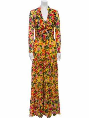 Saloni Silk Long Dress w/ Tags Yellow