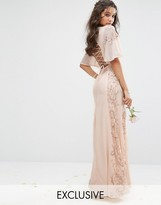 Maya Embellished Maxi Dress with Fluted Sleeve with Lace Up Back
