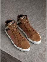 Burberry House Check Cotton and Calf Suede High-top Trainers