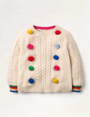 Rainbow Pompom Cable Jumper