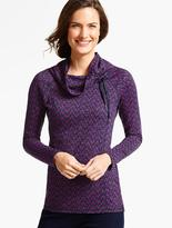 Talbots Geo-Leaves Cowlneck Top