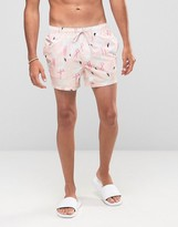 Asos Swim Shorts With Flamingo Print In Short Length