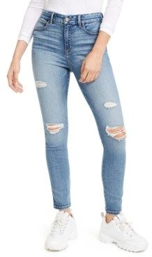 Rewash Juniors' Curvy Fit Ripped High-Rise Skinny Jeans