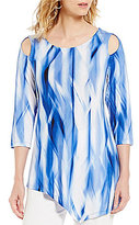 Peter Nygard Petite Cold-Shoulder Printed Tunic