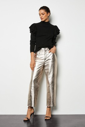 Metallic Leather Straight Leg Trouser
