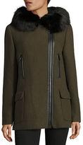 Calvin Klein Fur Trim Wool Coat