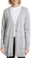 Women's Grey Jason Wu Double Placket Merino Wool Blend Cardigan