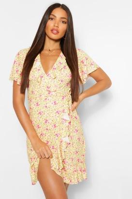 boohoo Tall Ditsy Floral Wrap Front Mini Dress