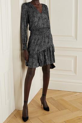 MICHAEL Michael Kors - Wrap-effect Ruffled Metallic Printed Georgette Mini Dress - Black
