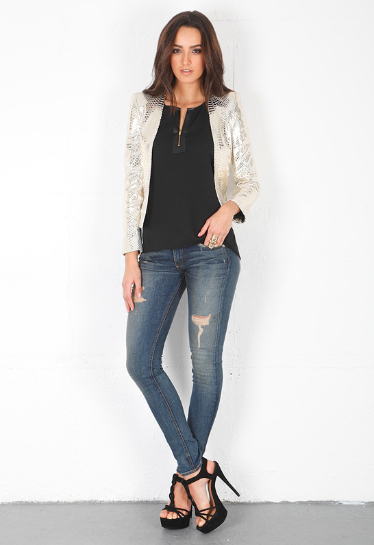 Singer22 Mademoiselle Leather Jacket in Gold
