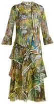 Peter Pilotto Floral-print ruffled silk-georgette midi dress
