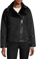 MICHAEL Michael Kors Faux-Shearling Faux-Suede Moto Jacket, Black