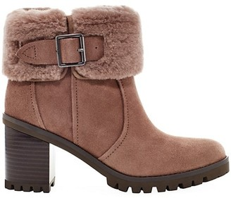 UGG Elisiana Suede Wool-Trim Ankle Boots